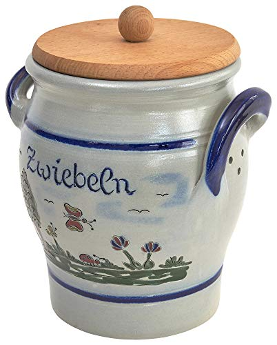 vivApollo Zwiebeltopf mit Holzdeckel Vorradsdose Original westerwälter Kannenbäckerland salzglasierte Steinzeug Keramik (onezize, Idas Garten)