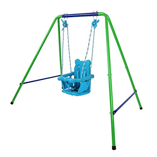 Toddler Swing Set, High Back Seat with Safety Belt, A-Frame Outdoor Swing Chair, Metal Swing Set for Backyard