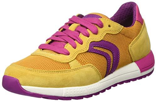 Geox Mädchen J ALBEN Girl B Sneaker, Gelb (Ochre/Fuchsia C2q8n), 35 EU