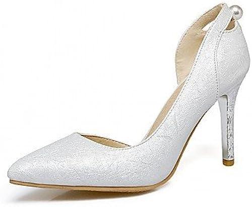 RUGAI-UE Mode d'été Occasionnels Chaussures Femmes Sandales Talons PU Confort Plein air,Marche,Argent US7.5   EU38   UK5.5   CN38