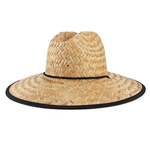 GEMVIE-Sombrero de Paja para Verano Decoración de Tela Iimpresa para Palaya con ala Ancha Anti-UV para Hombre