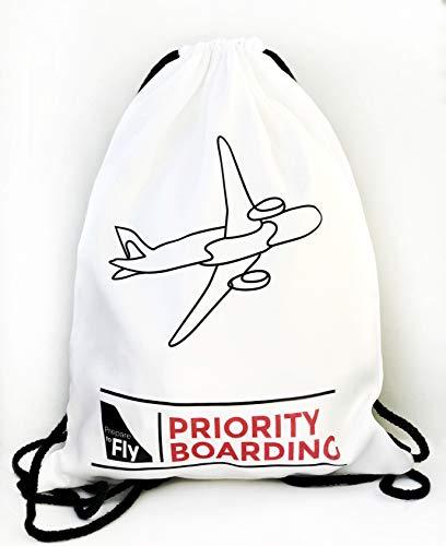 Bolsa/Mochila de Cuerdas Modelo Priority Boarding con avión