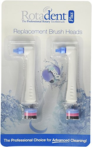 Pack of 2 Rotadent + PLUS Rota Dent Brush Head Short POINTY NEW