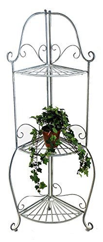 """DanDiBo Ambiente Estantería de Esquina""""Romance 20113Estante Hecho del Metal 125cm baño Estante Antik–Estante de Cocina, Color Gris"""