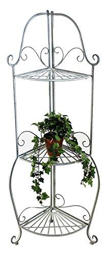 DanDiBo Eckregal Romance 20113 Regal aus Metall 125 cm Badregal Antik Grau Küchenregal