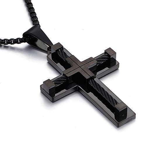 YL Men's Cross Necklace Stainless Steel Crucifix Pendant Rolo Chain Black Jewelry