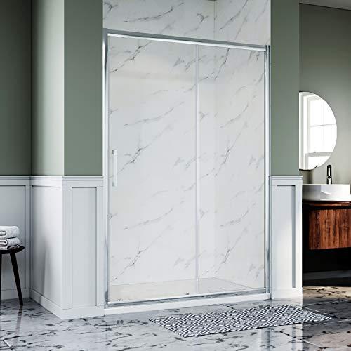 ELEGANT 1400 x 800mm Modern Sliding Shower Enclosure 8mm Safety Easy Clean Glass Reversible Shower...