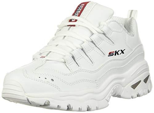 Skechers Energy Timeless Vision, Zapatillas Mujer, Blanco Blanco Cuero Rojo Navy Trim Wml, 39 EU