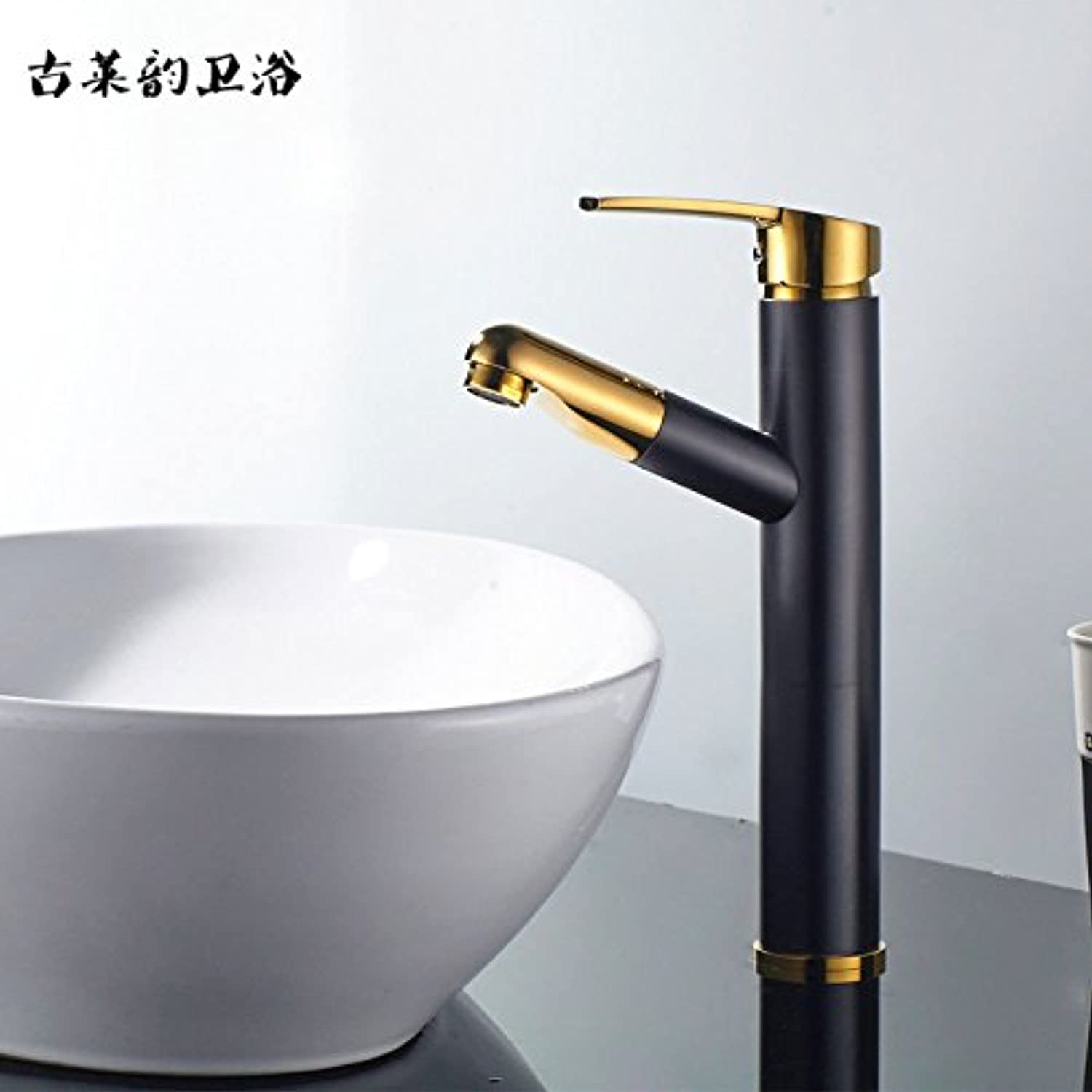 Lalaky Taps Faucet Kitchen Mixer Sink Waterfall Bathroom Mixer Basin Mixer Tap for Kitchen Bathroom and Washroom Pull-Type Telescopic Hot and Cold Copper Can Stretch Black Retro gold
