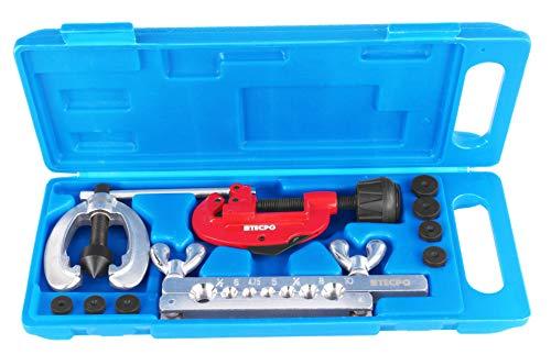 TECPO Bremsleitung Bördelgerät Kfz Bördel Werkzeug mit Rohrschneider Leitung bördeln