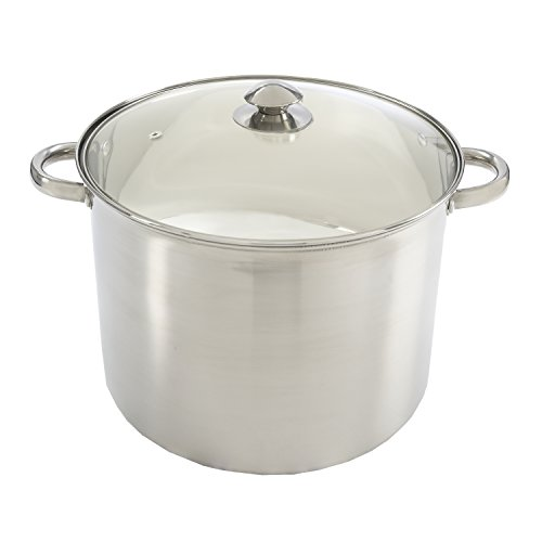 Ecolution Stock Pot with Vented Tempered Glass Lid Pure Intentions, 16 Quart, Stainless Steel
