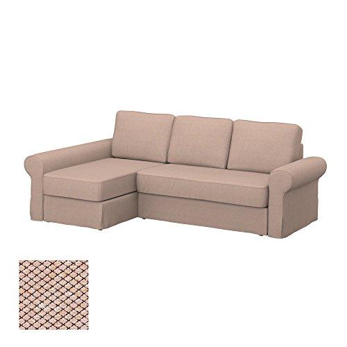 Soferia - IKEA BACKABRO Funda para sofá con chaiselongue, Nordic Beige