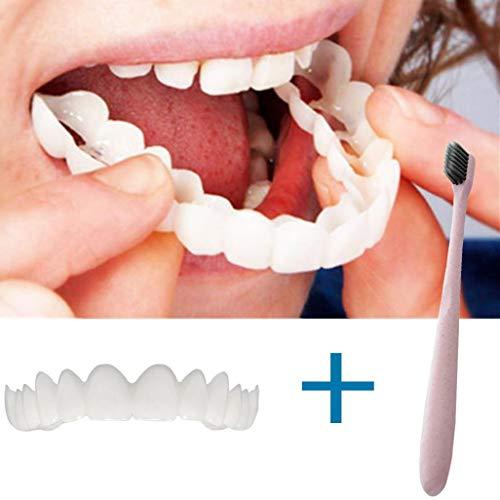 BZLine® Provisorischer Zahnersatz, 1 Stück kosmetische Zahnmedizin Snap auf Instant perfekte Lächeln Comfort Fit Flex Zähne Veneers Zähne kosmetische Aufkleber mit Zahnbürste (1 Stück Oberen Zähne)