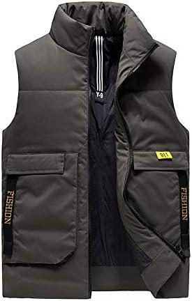Snhpk Men's Cotton Vest Outerwear Gilets Coat Softshell Jacket, Winter Thicken Warm Windproof Overcoat Waistcoat,Green,XXXL