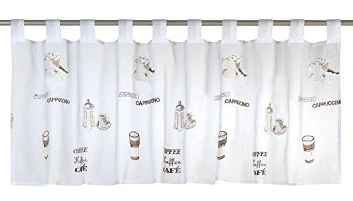 Elbersdrucke Espresso 06 Bistrogardine, Polyester, weiß-braun, 48 x 140 cm