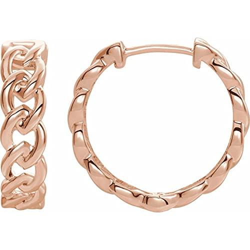 Pendientes de aro de oro rosa pulido de 14 quilates para mujer
