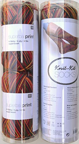 Rico Knit Kit calcetines 01–2x Bolas de 50g, patrón, agujas