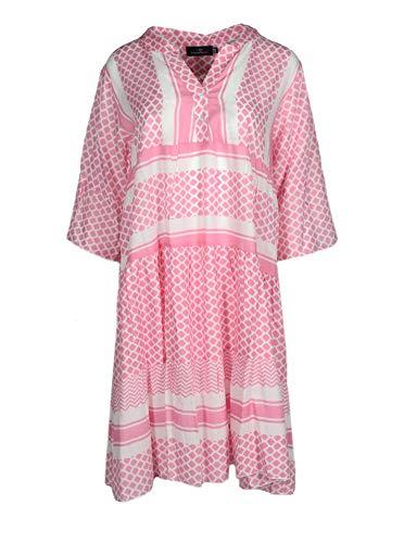 Zwillingsherz Sommerkleid im modernen Design – Hochwertiges Freizeitkleid für Damen Frauen Mädchen - Abendkleid Strandkleid - Locker luftig - OneSize - Perfekt für Frühling Sommer und Herbst - rosa