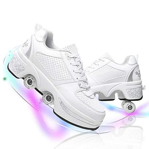 Dytxe Ajustable Patines Quad Zapatos, Portátil Cuatro Rueda Retráctiles Zapatillas Skate, Navidad Regalo De Cumpleaños para Niña Y Niño