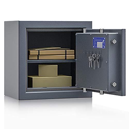 Secureo Wertschutzschrank Grad 1 EN 1143-1 Osprey 1 | H400xB400xT270 | Doppelbartschloss mit 3 Schlüssel | ECB-S Zertifiziert | 1 Fachboden | 39 kg