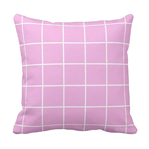Genyolo Pink Grid Pillow Pastel Grunge Aesthetic Room Decor 18x18 Full Pillow Buy Online In Serbia At Serbia Desertcart Com Productid 44401528