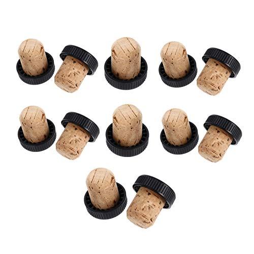 Hemoton - Tapones de vino de corcho para vino (12 unidades), color negro