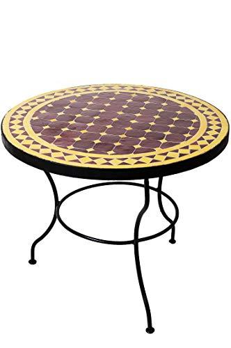 Originele Marokkaanse mozaïek tafel salontafel ø 60 cm groot rond | ronde kleine mozaïek tuintafel Mediteran | als tafel bijzettafel voor balkon of tuin | oosters 60 x 45 cm hoch Bordeaux Gelb