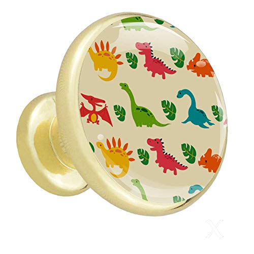 Kleiderschrank Knöpfe Netter Cartoon-Dinosaurier Kommode Knobs Gold dekorative Schrankknöpfe und Pulls für Farmhouse Kitchen 4er Pack 1.26x1.18x0.66in