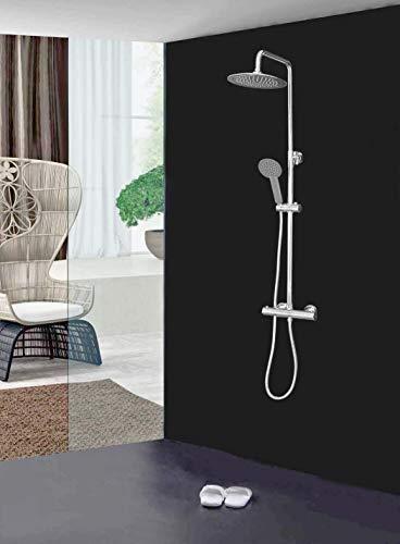 Elbe Duschsystem mit Thermostat, Duschsäule mit ⌀25 cm Rund Überkopfdusche, Duschset aus 304 Edelstahl+Messing mit warmen Regendusche, 75-119 cm verstellbare Duschstange