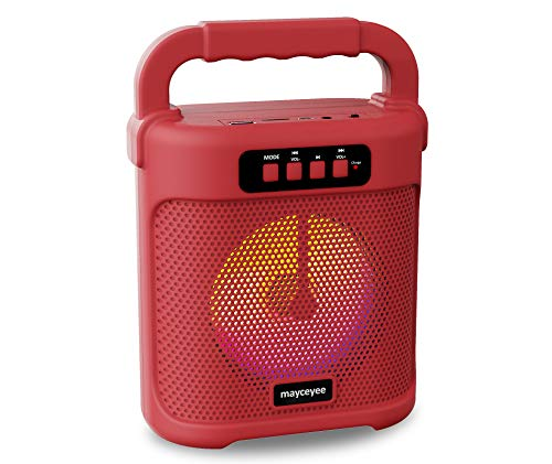 mayceyee Portable Bluetooth Speaker with FM Radio, Rechargeable Wireless Speaker with Line in, USB Disk and Micro SD Input, Stereo Speaker with Flashing LED Light for Indoor and Outdoor Party (Red)