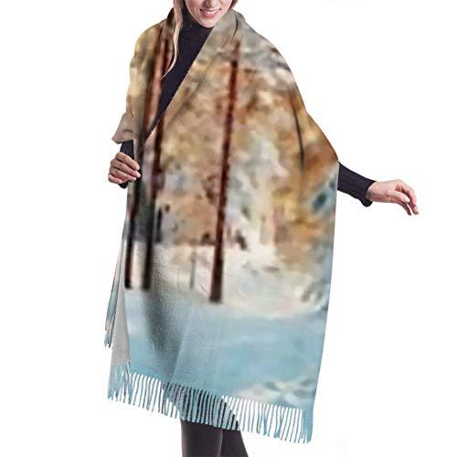 Tengyuntong Pashmina abrigo bufanda manta bufanda, clásica cachemira sensación unisex invierno bufanda, pinos cubiertos nieve en heladas largas grandes bufandas abrigadas chal estola