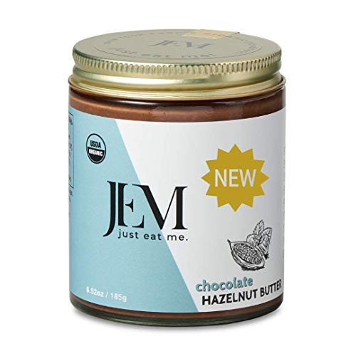 JEM Chocolate Hazelnut Nut Butter, All Natural, Organic, Gluten-Free, Vegan, Paleo, Keto Snack, 6 oz Jar, Single Pack