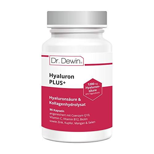 Dr. Dewin® Hyaluron PLUS | Hyaluron + Kollagen | Q10 | Hochdosiert 1200 mg pro Tagesdosis | Testsieger 2020/2021* | Biotin + Vitamin C + B12 | 90 Kapseln = 30 Tage | 800-1500 kDa