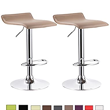 WOLTU 6lbn-c Faux Leather,light brown Set of 2,Barstools Low-back without Armrest Furniture Contemporary Chrome Gas Air Lift Adjustable Swivel Stools
