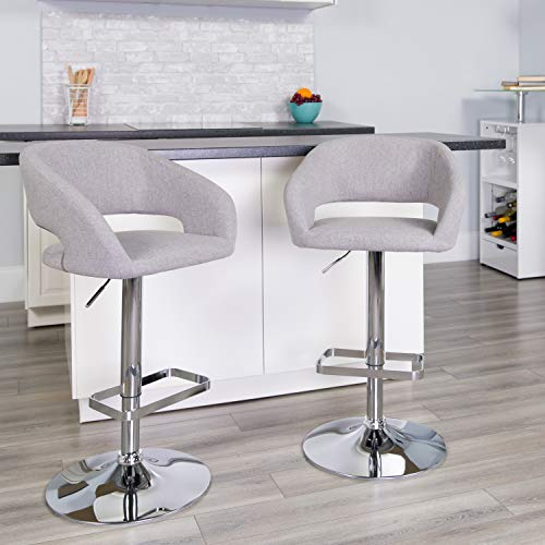 Flash Furniture Contemporary Gray Fabric Adjustable Height Barstool with Rounded Mid-Back and Chrome Base