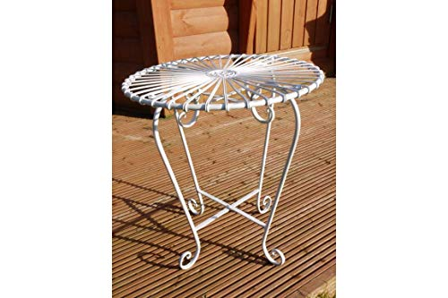Casadomu White Retro Bistro Table Small Round Metal Indoor Outdoor Side Unit Picnic Garden Dining 50x44cm