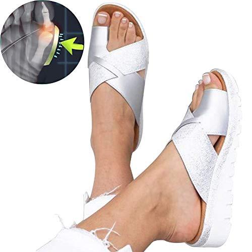 Dames Sandalen Met Sleehak Comfortabel Open Teen Slippers Bunion Corrigerende Sandalen Zomer Strandreizen Wandelschoenen Maat 35-43,40