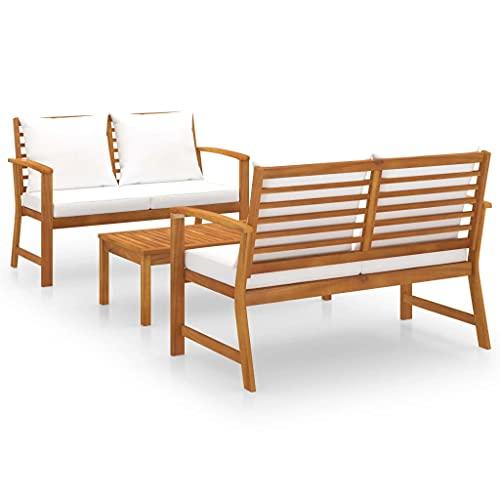 vidaXL Bois d'Acacia Solide Salon de Jardin 3 pcs avec Coussin Mobilier de Patio Meubles de Terrasse Mobilier de Jardin Meubles d'Extérieur