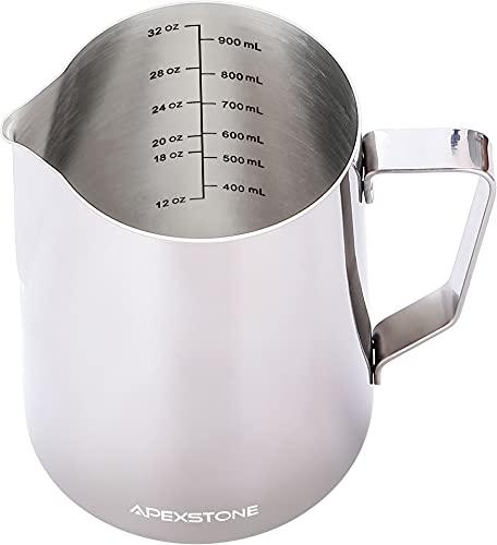Apexstone Espresso Steaming Pitcher 32 oz,Espresso Steaming Pitcher 32 oz,Coffee Milk Frothing Cup,Coffee Steaming Pitcher 32 oz/950 ml