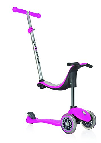 Globber niños de EVO 4-en-1 con Light Up Ruedas Scooter, Infantil, EVO 4-in-1 with Light Up Wheels, Rosa Oscuro, n/a