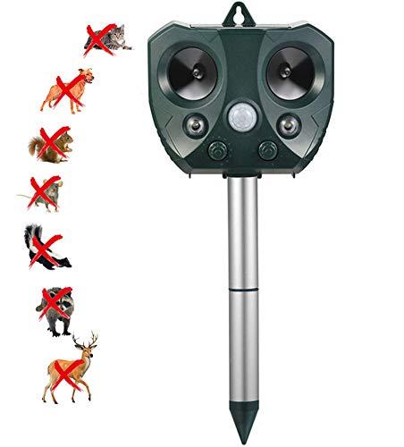 HBRE Repelente UltrasóNico Animales Carga Solar Y USB,5 Modos Ajustables con Sensor Pir Led Luz De Flash Repele Los Ratones Topos Y Las Ratas Roedor