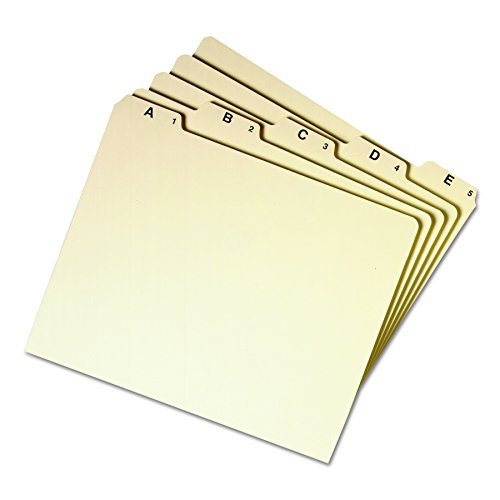 Smead Heavyweight File Guides, 1/5-Cut Tab (A-Z), Letter Size, Manila, Set of 25 (50176)