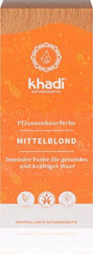 KHADI - Poudre Colorante pour Cheveux Blond Moyen - 100% naturel - Pour tous les types de cheveux - Fortifiant et nourrissant - Certifié BDIH - Végétalien - 100 gr