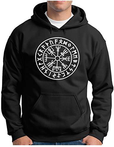 OM3® Vegvisir-Viking-Compass Hoodie | Herren | Odin Runen Wikinger Symbol Nordic Warrior | Kapuzen-Pullover Schwarz, 4XL
