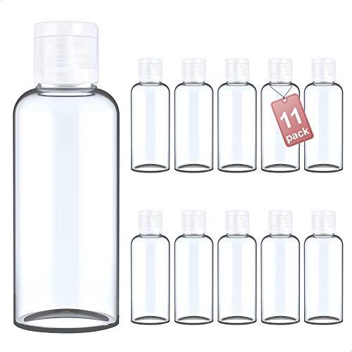LG Luxury & Grace Pack 11 Botellas Flip-Top, 100 ml. Botes de Polietileno Transparente con Tapa de Cierre. Botellas Rellenables para Viajes, Higiene Personal y Aceites Esenciales.