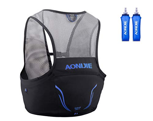 Aonijier - Mochila de hidratación para correr (2,5 l, 2,5 l, para senderismo, camping, escalada con 2 unidades de 500 ml de vejiga de agua (negro, L/XL)