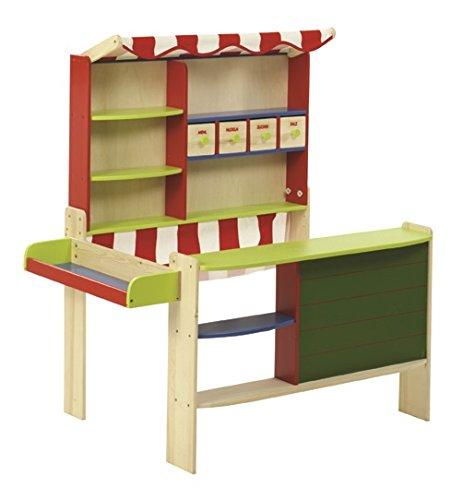 roba Kaufladen 'Marktstand', Kinder Kaufmannsladen, Holz bunt, Verkaufsstand mit Tafel, Theke, Seitentheke & Markise