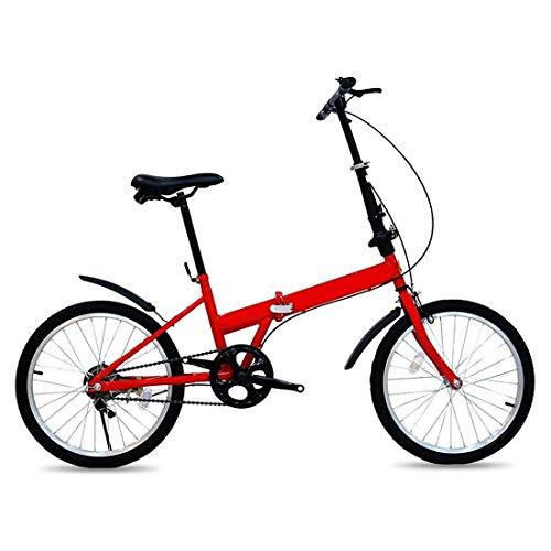 20 Pulgadas Bicicleta Bici Ciudad Plegables Adulto Hombre Mujer, Bicicleta de Montaña Btt MTB Ligero Folding Mountain City Bike Doble Suspension Bicicleta Urbana Portátil, H066ZJ (Color : Red)