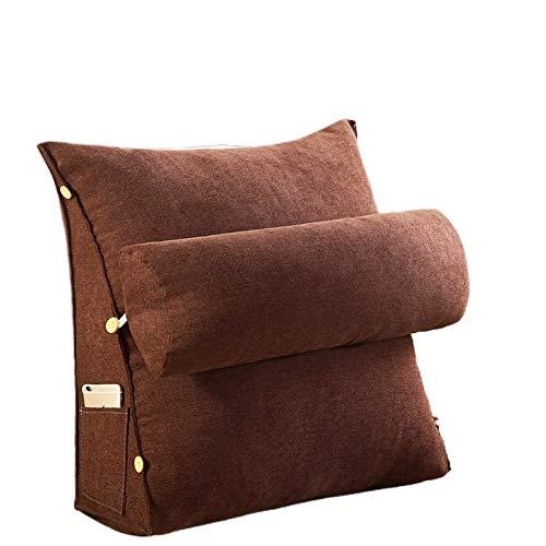 JONJUMP Almohada de terciopelo suave para lectura y reposo de cama, cojín de respaldo grande para adultos con bolsillos, soporte trasero para cama