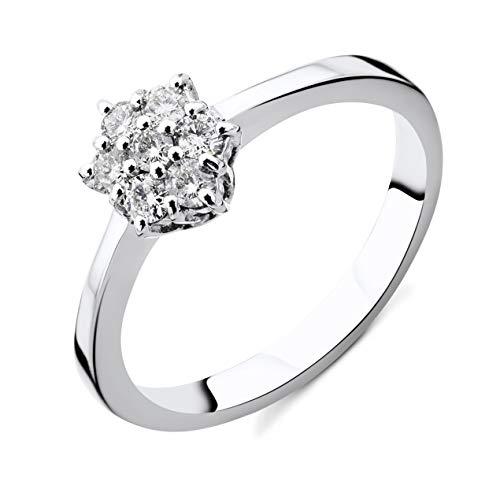 Anello da donna Orovi in oro bianco, anello di fidanzamento in oro 18 carati (750) e diamanti, anello da 0,21 ct fatto a mano in Italia e Oro bianco, 50 (15.9), cod. OR9106R50